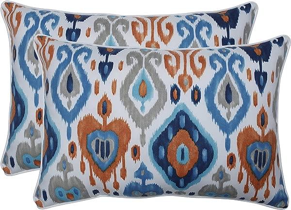 Pillow Perfect Outdoor Indoor Paso Azure Over Sized Rectangular Throw Pillow Set Of 2 Blue