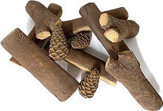 11Juego de leños de cerámica para chimeneas de bioetanol (cerámica Madera