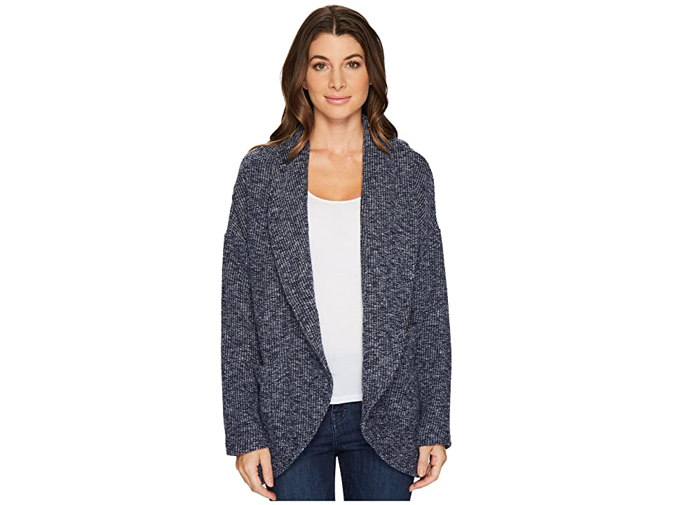 Mod-o-doc Corded Sweater Knit Shawl Collar Patch Pocket Cardigan (Navy) Women