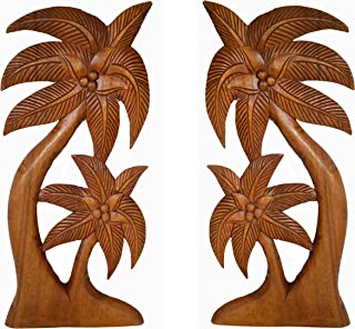 Set of 2 Beautiful Mahogany Wood Palm Tree with Coconuts Tropical Island Wall Art