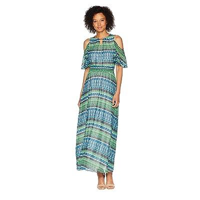 Calvin Klein Printed Halter Maxi Dress with Tie (Capri/Black) Women