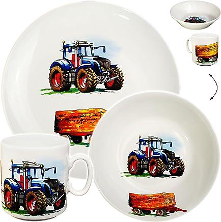 Preisvergleich für Unbekannt 3 TLG. Geschirrset _ großer Teller / Kinderteller + Schüssel + Henkeltasse - Traktor - Trecker mit Anhänger - Bauernhof - aus Porzellan / Keramik - Tasse ..