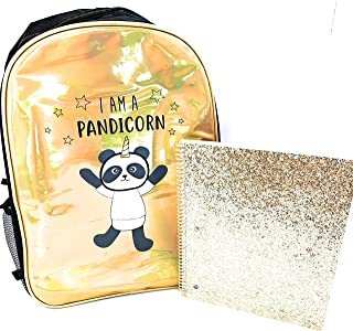Pandacorn Back to School Set- Pandacorn 16' Backpacks for Girls, 1 Glitter Notebook (Gold Notebook