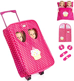 7 Piece TWIN Doll Traveling Trolley Set fits 2 18'' American girl Dolls Including Twin Sleeping Bags and accessoriesDoll Not Included