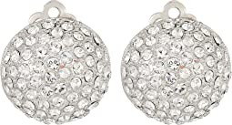 Medium Pave Button Clip Earrings; Elements By Swarovski