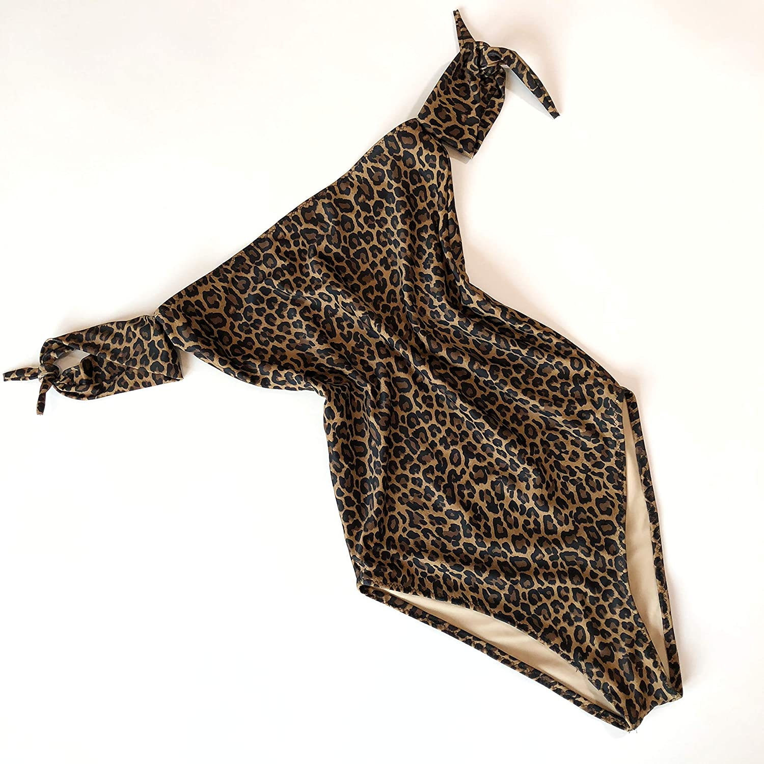 Women's Philadelphia Mall one piece Leopard Online limited product swimsuit tie sleeves with
