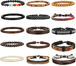 Thunaraz 8-15Pcs Men Leather Bracelets Hemp Cords Wood...