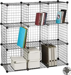 Relaxdays Modular Grid Shelf  Compartments  DIY Shelving System  Metal  Open Cube Rack  Black