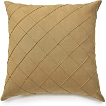 Solino Home Linen Pillow Cover – Diamond Lattice Pattern Decorative Throw Pillow Cover, 100% Pure Linen Cushion Case - 18 x 18 Inch, Mustard