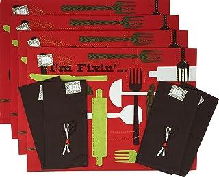 مجموعة مفارش ومناديل من 8 قطع من Southern Sayings What I'm Fixin ، 6720 ، 18 × 13 بوصة ، أحمر بني وأخضر