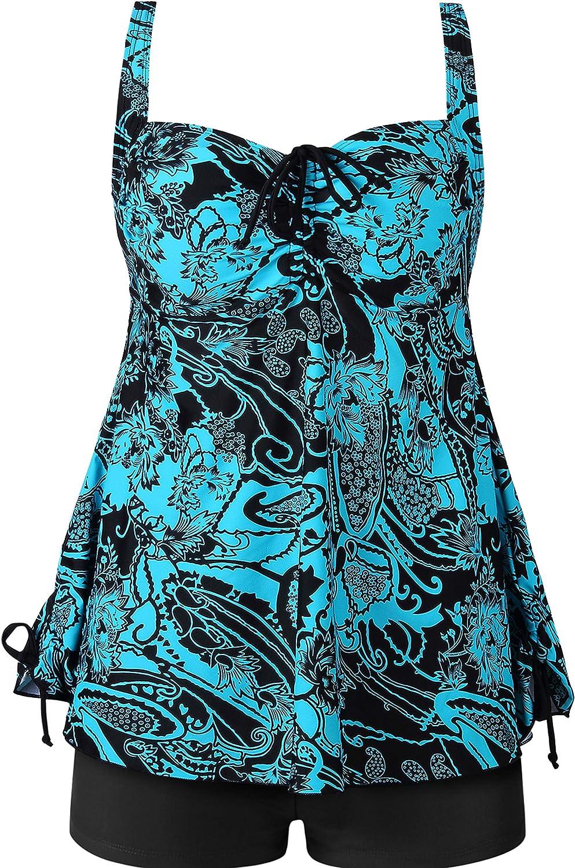 Plus Size Swimsuit for Women Two Piece Tankini Bathing Suit Swimwear Swimdress Floral Print