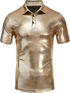 Mens Polo Shirt Sequins Short Sleeve Nightclub Party T-Shirts Tops Turndown Sparkle 70s Disco Shirt Party Costume