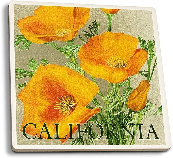 Lantern Press California Bottom Text Poppies Set Of 4 Ceramic Coasters Cork Backed Absorbent