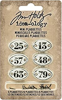 Tim Holtz Idea-ology Mini Plaquettes, Small Metal Numbered Plates 6-Pack,