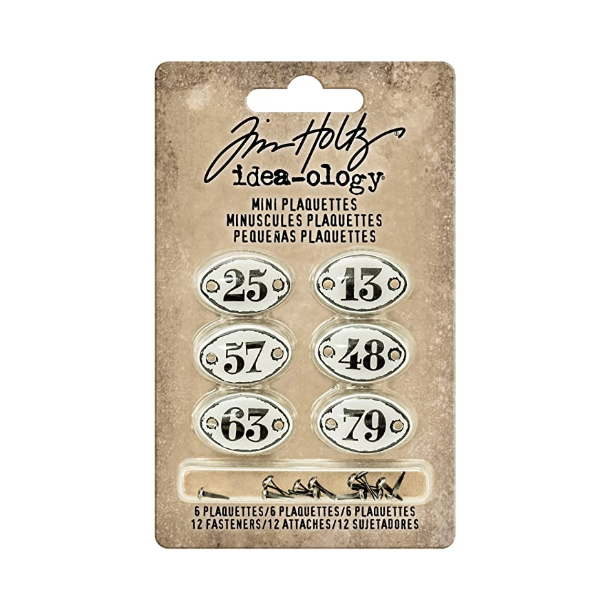 Tim Holtz Idea-ology Mini Plaquettes, Small Metal Numbered Plates 6-Pack, 1/2 x 3/4 Inch Each, White with Black Numbers (TH93296)