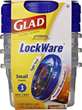 Glad LockWare Small Food Storage Containers, 16 Ounces, 3 Count (Pack of 3)