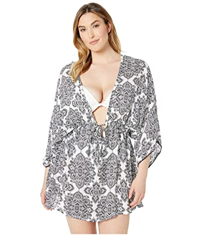 DOTTI Plus Size Positano Tiles Tunic Cover-Up (Black/White) Women