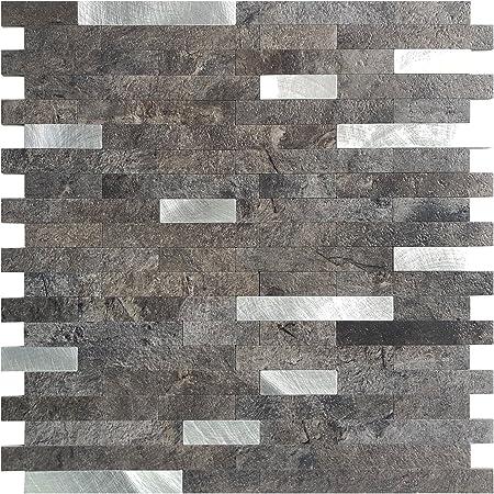 "Art3d 12""x12"" Peel and Stick Backsplash Tile for Kitchen, Faux Stone Backsplash (5 Tiles)"