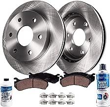 Detroit Axle - Pair (2) Front Disc Brake Rotors w/Ceramic Pads w/Hardware & Brake Cleaner & Fluid for 2000 2001 2002 Dodge Dakota/Durango