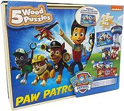 Paw Patrol 5 Wood Jigsaw Puzzles in Wood Storage Box