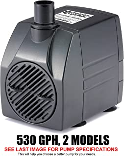 PonicsPump PP53006: 530 GPH Submersible Pump with 6' Cord - 45W… for Hydroponics, Aquaponics, Fountains, Ponds, Statuary, Aquariums & more. Comes with 1 year limited warranty.
