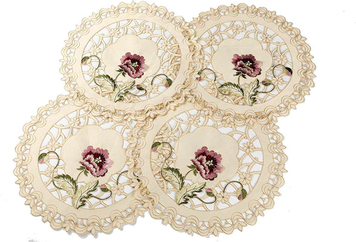 11 5 Red Lotus Embroidered Cutwork Doily Or Placemat For Party Table Pack Of 4