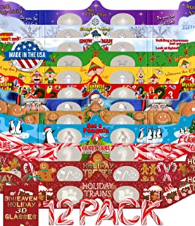 Holiday 3D Glasses 12 Pack - With 3DHeaven Exclusive Styles HOLIDAY TREATS and HOLIDAY TRAINS – 12 Different!