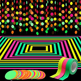 WATINC 72ft Neon Paper Garland, Circle Dots Hanging Decorations for Birthday Party Christmas Wedding Glow in The Dark Party, Black Light Neon Party Supplies with 3Pcs UV Blacklight Reactive Tapes