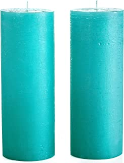 Melt Candle Company Turquoise/Teal Unscented Pillar Candles 3 x 8 Inch [Set of 2] Fragrance-Free for Weddings, Home Decoration, Restaurant, Spa, Smokeless Cotton Wick