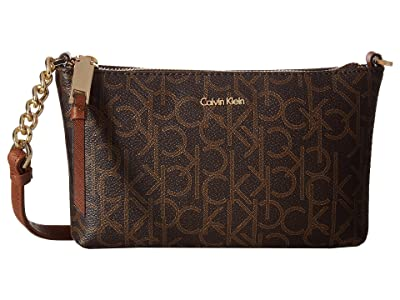Calvin Klein Hayden Monogram Crossbody (Brown Khaki/Luggage Saffiano) Cross Body Handbags