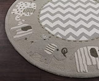 USA RUG Elephant Gray 5'x5' Round Zigzag Boys Kids Ganesha Handmade Tufted 100% Woolen Rugs & Carpet