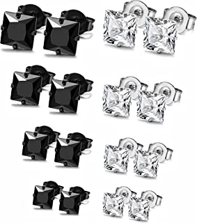 8 Pairs Stainless Steel Mens Womens Stud Earrings Pierced Cubic Zirconia Earrings, 3mm-10mm Available