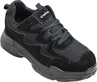CALTO Men's Invisible Height Increasing Elevator Shoes - Black Nubuck Lightweight Lace-up Casual Trainers Sneakers - 3 Inches Taller - H2561