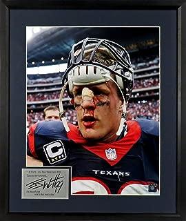 "Houston Texans J.J. Watt ""Bloody Warrior"" 16x20 Photograph (SG Signature Engraved Plate Series) Framed"