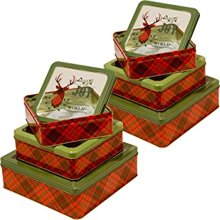 Christmas Nesting Tins with Window for Cookie, Candy or Other Gifts, Square Shape (Christmas Plaid, 6-Count)
