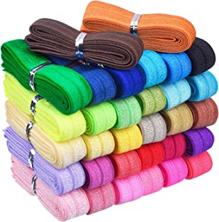 Mudder 32 Yards Ribbon Elastic Foldover Elastics Stretch Hair Ties Headbands for Baby Girls Hair Bow (32 Packs, 32 Color S...