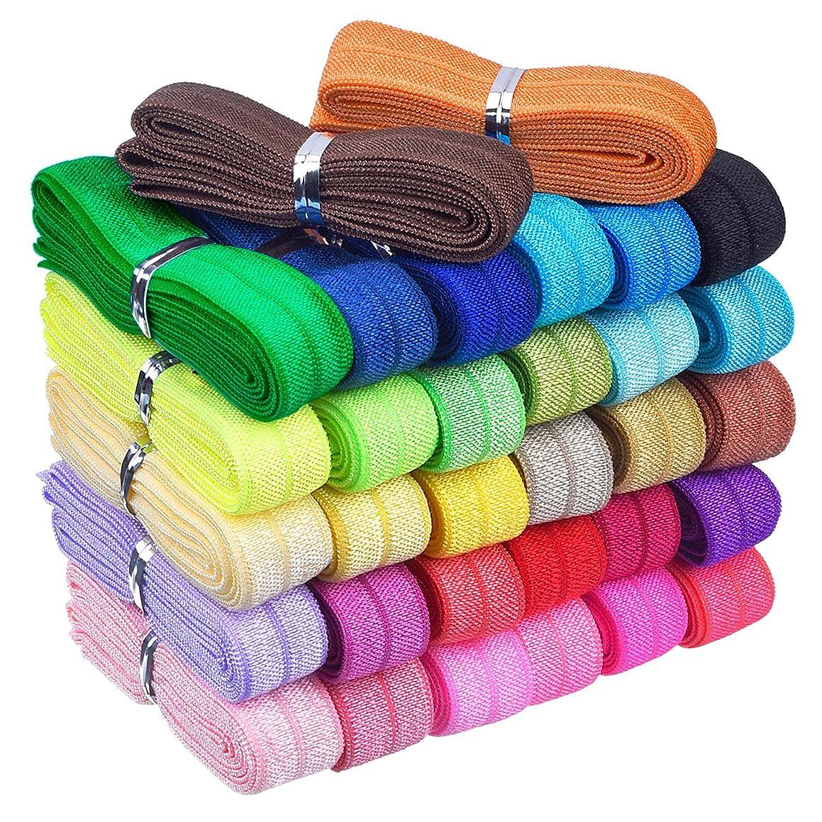 Mudder 32 Yards Ribbon Elastic Foldover Elastics Stretch Hair Ties Headbands for Baby Girls Hair Bow, 32 Colors, 1 Yard Each One