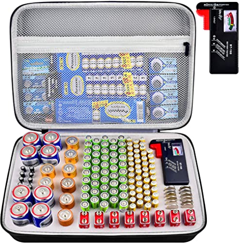 Battery Organizer Storage Case with Tester, Battery Box Holder Garage Container Bag Fits for AA AAA AAAA 9V C D Lithi...
