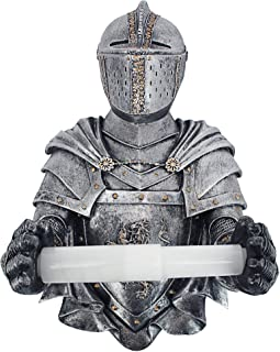 Design Toscano CL5768 Holder-Medieval Knight to Remember Gothic Toilet Paper Roll-Bathroom Wall Decor, Pewter