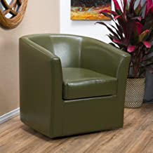 Christopher Knight Home Daymian Faux Leather Swivel Club Chair, Tea Green