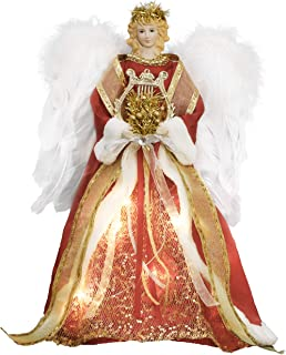 Valery Madelyn 16 Inch Luxury Red Gold Christmas Angel Tree Topper, Angel Tree Top with 10 Warm LED Lights, Battery Operated (Not Included)