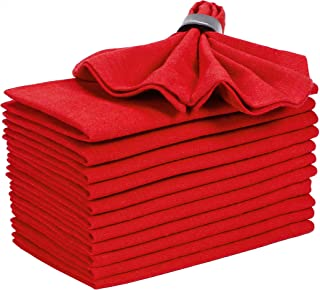 Angels Threads Cocktails Napkins in Yarn Dyed Fabric-18x18 Red,Cloth Napkin,Wedding Napkins, Fabric Napkins, Cotton Napkins Mitered Corners & Generous Hem, Machine Washable Napkins, 12 Pack