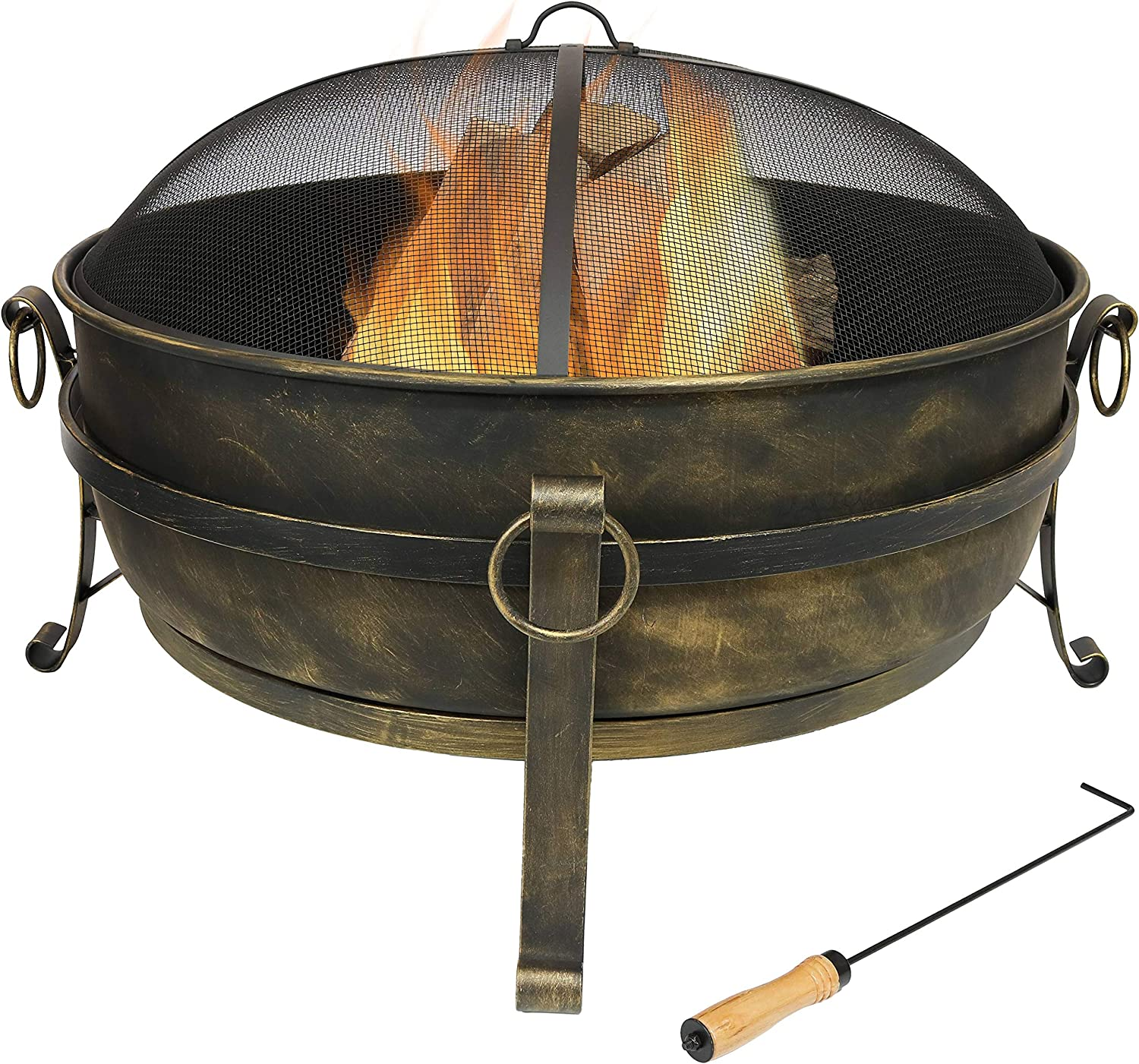Sunnydaze Cauldron Outdoor Fire Pit   10 Inch Large Bonfire Wood Burning  Patio & Backyard Firepit for Outside with Round Spark Screen, Fireplace ...