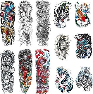 Leoars Full Sleeve Temporary Tattoos Dragon Fish Theme- Waterproof Fish Dragon Arm Tattoos Temporary and Extra Large Tatto...