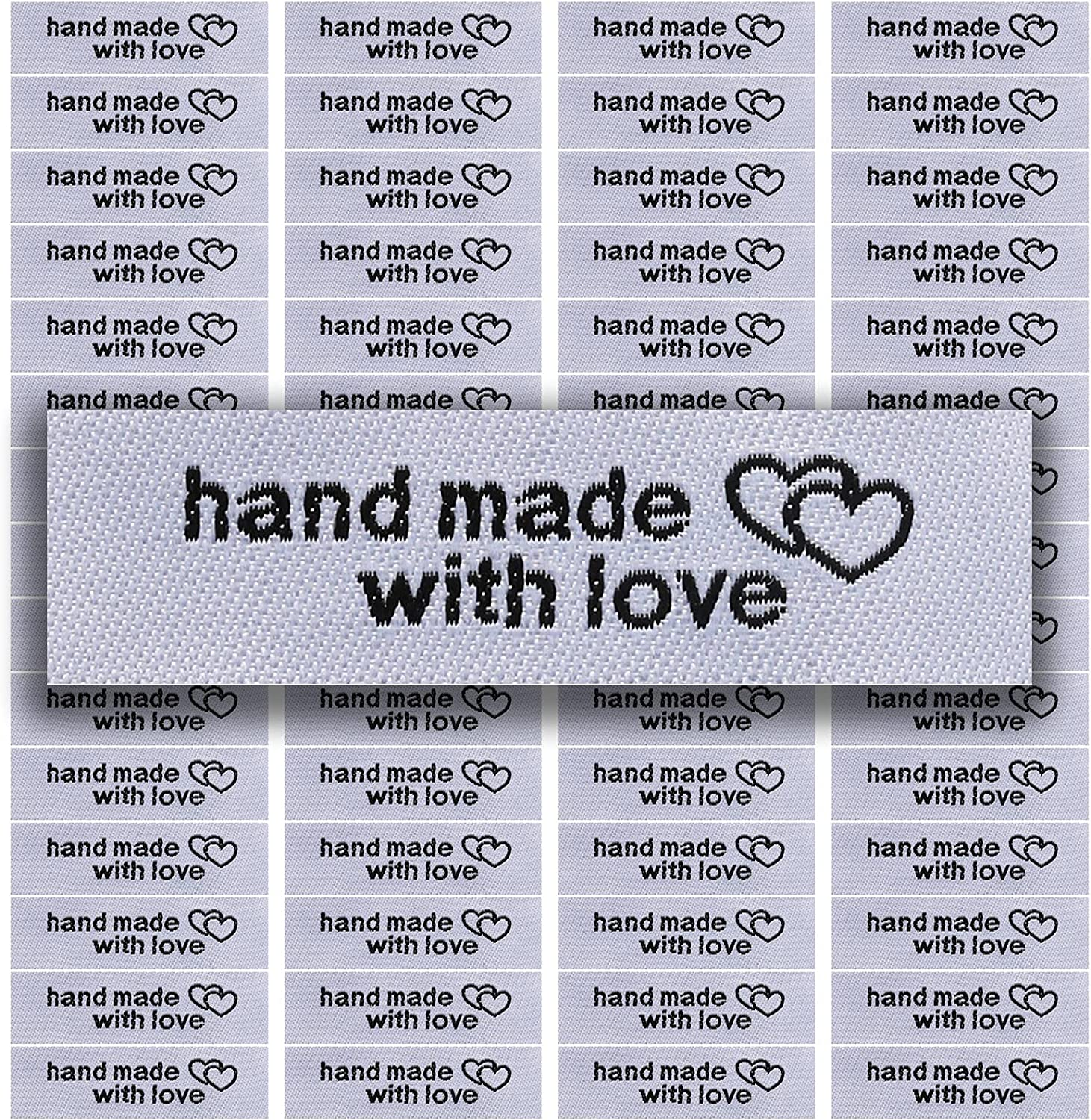 120 Pieces Personalized Sewing Labels Sew on Clothing Labels Handmade Interlocking Heart Pattern Label Tags for Handmade Items Clothes (White)