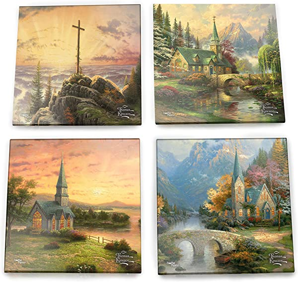 Thomas Kinkade Inspirational Glass Coaster Set Churches And Chapels Cross Religious Christian Comes With Stylish Modern Wooden Holder