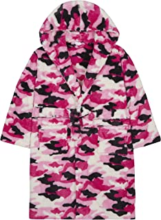 4Kidz Girls Camo Plush Fleece Dressing Gown with Hood