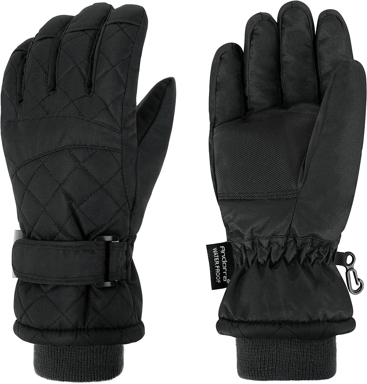 ANDORRA Women's Waterproof Quilted Insulation Snow Gloves