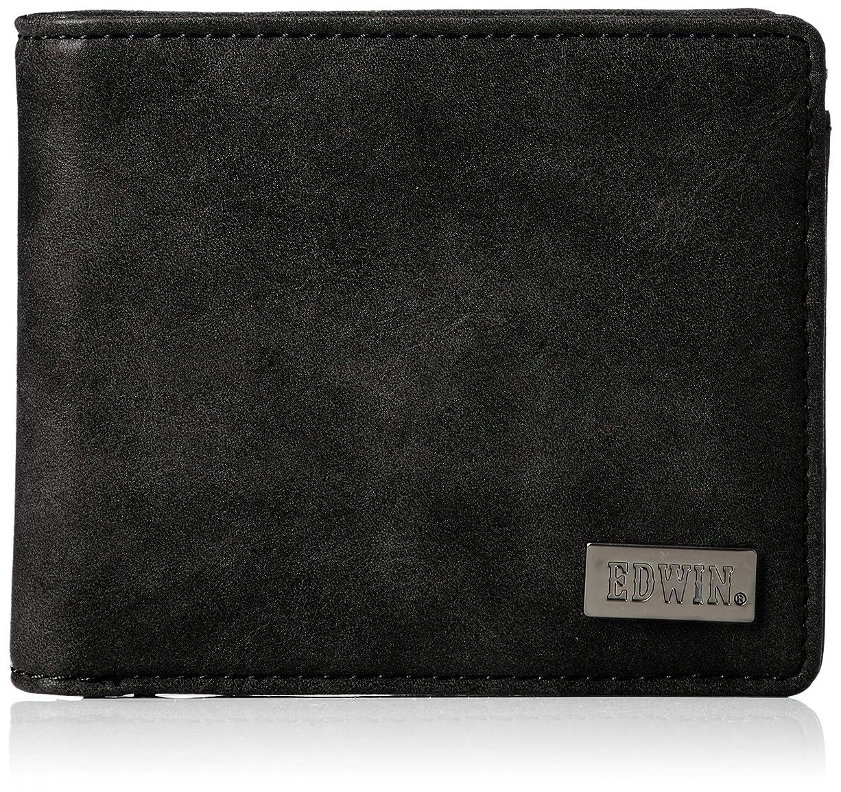 封筒ブローホール再生的[エドウィン] 二つ折財布 ダークメタルプレート