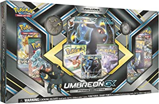 Pokemon TCG: Sun & Moon Guardians Rising Umbreon-GX Premium Collection | Collectible Trading Card Set | 3 Foil Promo Cards Featuring Umbreon-GX, Espeon-GX and Eevee | 6 Booster Packs, Umbreon Coin